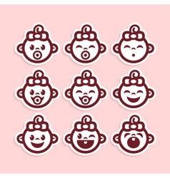 Cute Baby Girl Icons vector image vector image