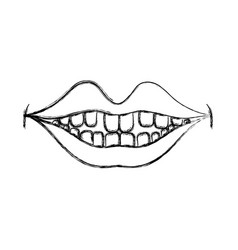 Figure happy mouth with teeth design icon vector