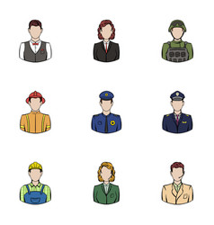 professional work icons set cartoon style vector image vector image