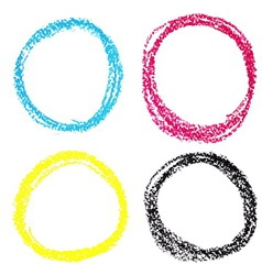 Set of cmyk circle spots of pastel crayon isolated vector