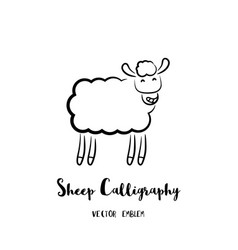 sheep calligraphy emblem vector image vector image