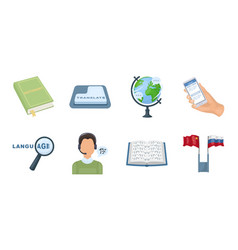 translator and linguist icons in set collection vector image vector image