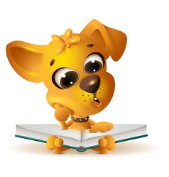 yellow dog reading open book vector image