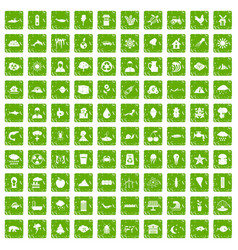 100 earth icons set grunge green vector image