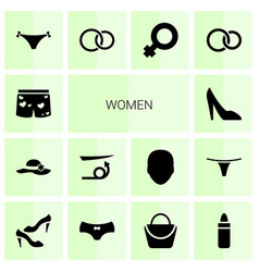 14 women icons vector