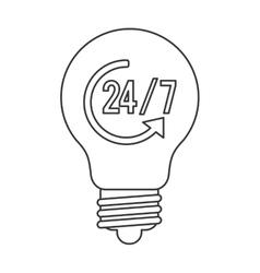 24 7 lightbulb icon vector image