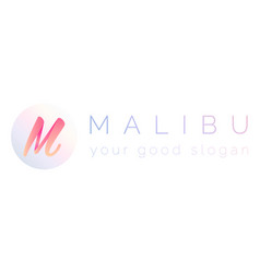 3d logo the letter m and the word malibu vector image