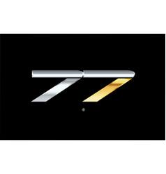 77 number silver gold logo icon design vector