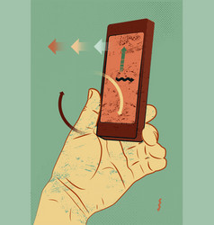 a hand holds a smartphone vintage grunge poster vector image