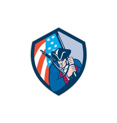 American Patriot Holding Brandish Flag Shield vector image