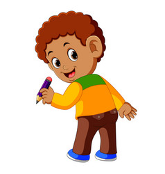 back of boy holding pencil vector image