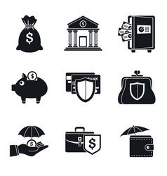 Bank deposit icon set simple style vector