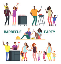 Barbeque party cartoon character families vector