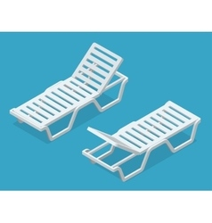 Beach chairs isolated on white background Plastic vector