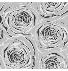 Black and white seamless background with roses vector