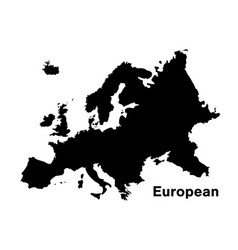 Black silhouette european map on white background vector