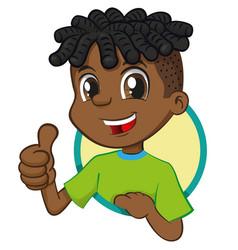 Boy african descent signaling ok vector
