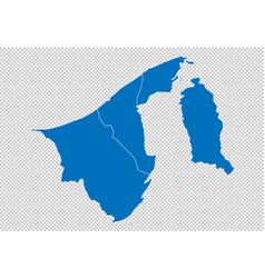 Brunei darussalam map - high detailed blue map vector