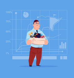 Business man hold box with office stuff search vector