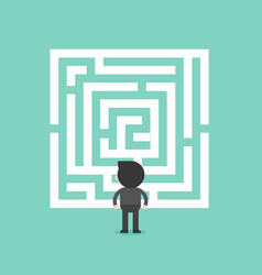Businessman look at labyrinth analyzed and vector