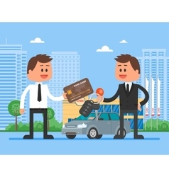 Car sale customer buying vector