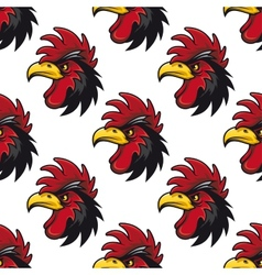 Cartoon cock or rooster seamless pattern vector