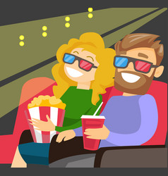 caucasian couple watching 3d movie vector image