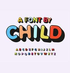 child alphabet color abc playful font with contour vector image
