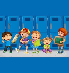 Children talking with their friends with school vector