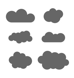 Cloud icons set Gray isolated vector