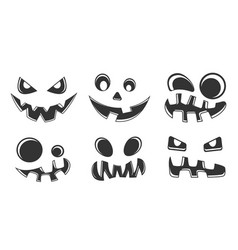 collection halloween pumpkins black and white vector image
