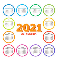 Color calendar on 2021 year with circle shape vector