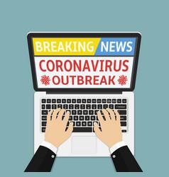 Coronavirus covid 19 breaking news flat design vector