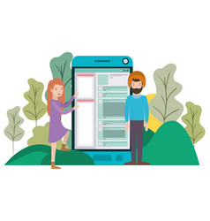couple with smartphone in landscape avatar vector image