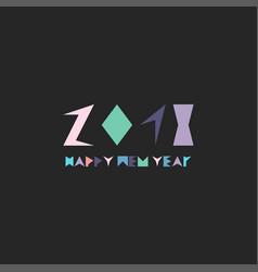 creative happy new year card memphis minimalistic vector image