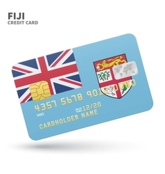Credit card with Fiji flag background for bank vector