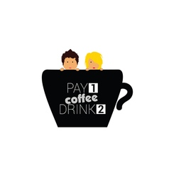cup of coffee with couple vector image