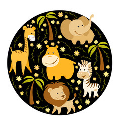 Cute cartoon african animals vector