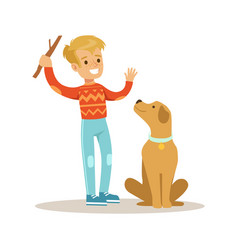 Cute smiling boy playing with his dog colorful vector