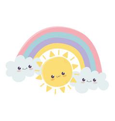 Cute sun rainbow clouds hello kawaii cartoon vector