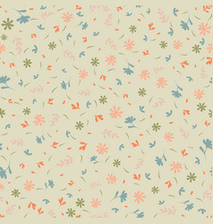 Ditsy flowers and leaves seamless pattern vector
