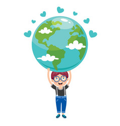 earth day with funny character vector image