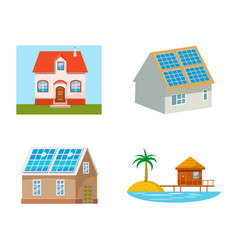 eco house icon set cartoon style vector image