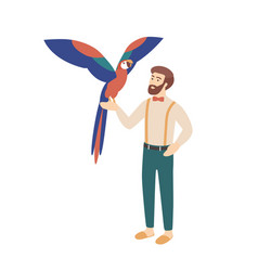 elegant bearded man holding parrot male character vector image