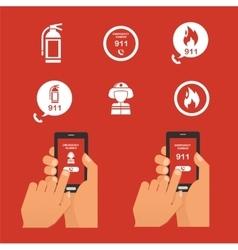 emergency fire alert via telephone set icon vector image