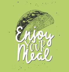 enjoy your meal modern ink brush monoline vector image