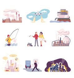 Environmental pollution and its sources vector