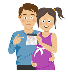 Expecting young parents pointing to calendar vector
