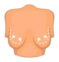 Female breast correction icon cartoon style vector