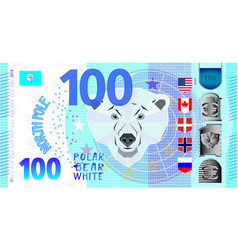 Fictitious banknote north pole and polar bear vector